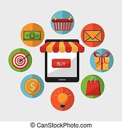 zakupy, projektować, sprzedaż