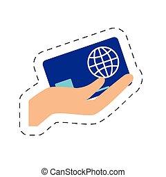 zakupy, ręka, kredyt, dzierżawa, online, karta