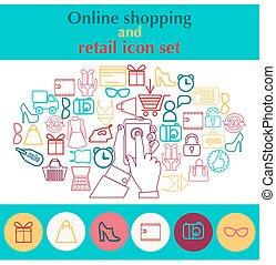 zakupy, ruchomy, ręka, telefon, dzierżawa, ikona