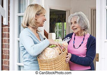zakupy, samica, sąsiad, senior, porcja, kobieta