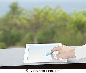 zakupy, tabliczka, ekran, wóz, dotykanie, ikona