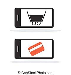 zakupy, telefon, wóz, komórka, kredyt, wektor, karta, ikona