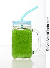 zalamero, bebida, tarro, jarra, verde, vaso