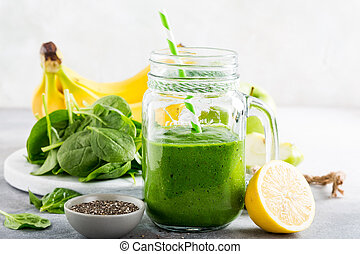 Zalamero, sano, espinaca, tarro, vidrio, verde