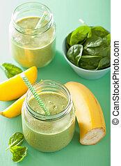 Zalamero, sano, espinaca, vidrio,  mango, verde, tarros, plátano