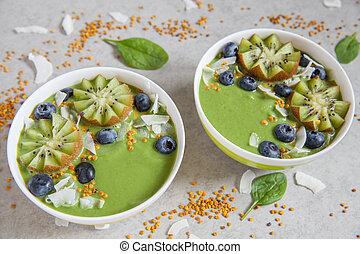 Zalamero, tazón, rematado, verde, frutas, desayuno, bayas