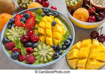 Zalamero, tazón, verde, frutas, desayuno, bayas