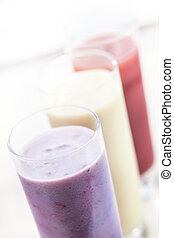 zalameros, fruta, o,  milkshakes