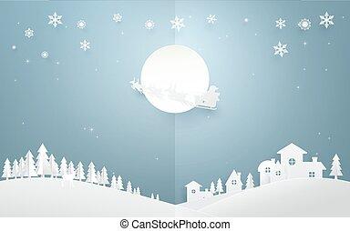 zalige kerst, achtergrond., santa claus, vliegen, in, een, arreslee, met, rendier, op, volle maan, op, land zijde, city., papier, kunst, en, origami, stijl, ontwerp