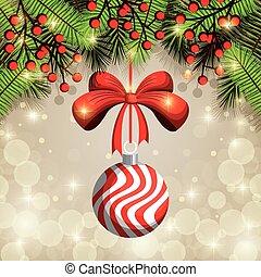 zalige kerst, bal, versiering, pictogram