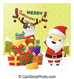 zalige kerst, begroetende kaart, met, santa claus, 2