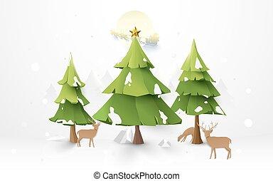 zalige kerst, bomen, en, rendier, met, santa claus, geleider, in, een, slede, op, volle maan, illustratie, achtergrond