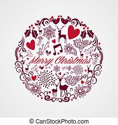 zalige kerst, cirkel, vorm, met, reindeers, en, liefde, communie, composition., eps10, vector, bestand, georganiseerd, in, lagen, voor, gemakkelijk, editing.