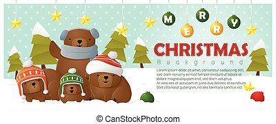 zalige kerst, en, gelukkig nieuwjaar, achtergrond, met, beer, gezin, 2