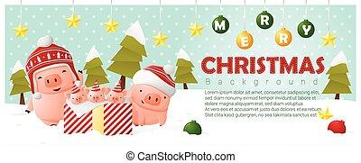 zalige kerst, en, gelukkig nieuwjaar, achtergrond, met, varken, gezin, 2
