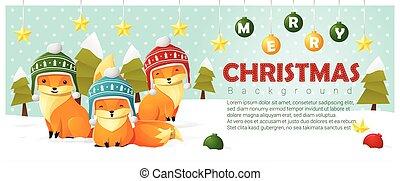 zalige kerst, en, gelukkig nieuwjaar, achtergrond, met, vos, gezin, 2
