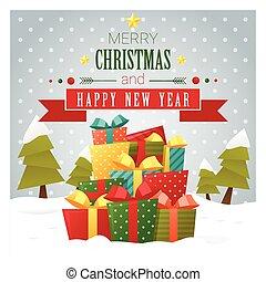 zalige kerst, en, gelukkig nieuwjaar, begroetende kaart, 2