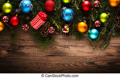 zalige kerst, frame, met, echte, hout, groene, dennenboom, en, kleurrijke, baubles