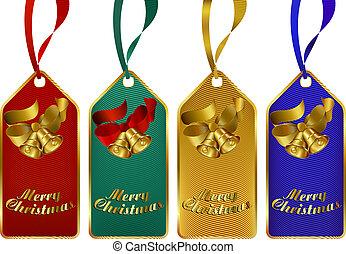 zalige kerst, geschenk etiketteert