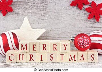 zalige kerst, houten blokken, met, rood, decor