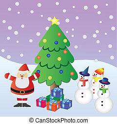 zalige kerst, met, kerstman, claus.
