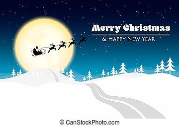 zalige kerst, met, kerstman, silhouette, op, de maan