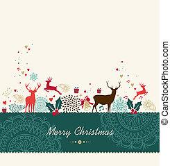 zalige kerst, ouderwetse , begroetende kaart