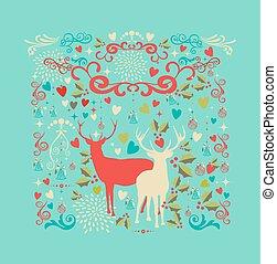 zalige kerst, reindeers, vorm, en, liefde, communie, composition., eps10, vector, bestand, georganiseerd, in, lagen, voor, gemakkelijk, editing.