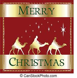 zalige kerst, rood, wisemen