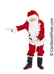zalige kerst, santa claus, met, welkom, gebaar