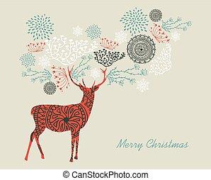 zalige kerst, tekst, ouderwetse , rendier, samenstelling, eps10, file.