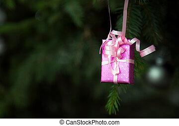 zalige kerst, versiering, op, boompje