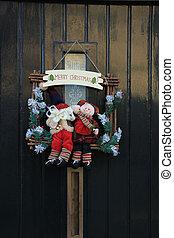 zalige kerst, versiering, op, voordeur