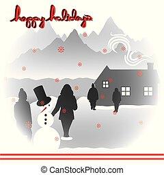 zalige kerst, vrolijke , feestdagen, landscape, 4