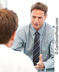 zaměstnanec, během, správce, setkání, charismatic