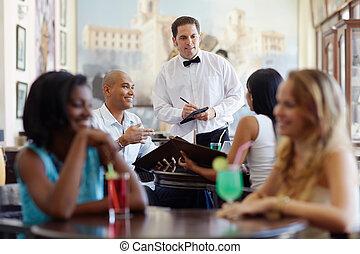 zamawianie, kelner, restauracja, mąka, ludzie