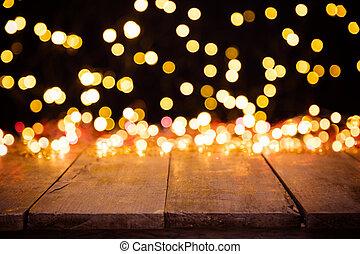 zamazany, abstrakcyjny, złoty, rozeznawać światła, z, drewno