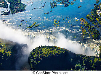 Zambezi river and Victoria Falls, aerial view