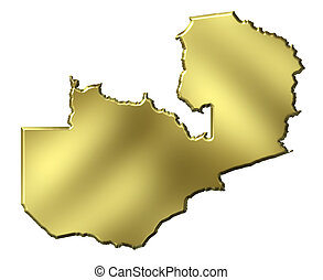 Zambia 3d Golden Map