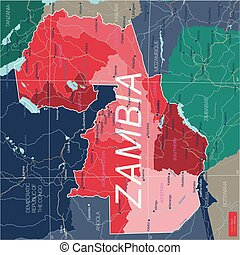 Zambia country detailed editable map