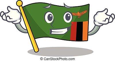 zambia, el hacer muecas, bandera, caricatura, forma