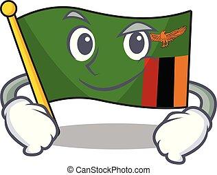 zambia, el smirking, bandera, caricatura, forma