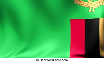 Zambia Flag. Background Seamless Looping Animation