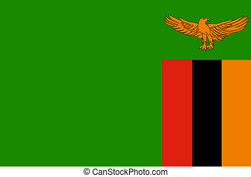 Zambia Flag - Sovereign state flag of country of Zambia in...