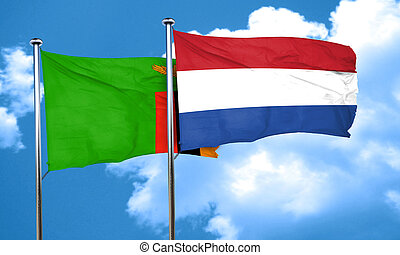 Zambia flag with Netherlands flag, 3D rendering