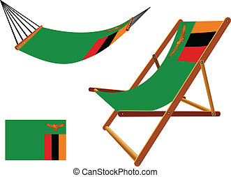 zambia hammock and deck chair set against white background,...