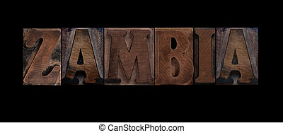 Zambia in old wood type