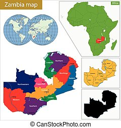 Zambia political map with capital lusaka national borders