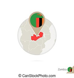 Zambia map and flag in circle. Map of Zambia, Zambia flag...