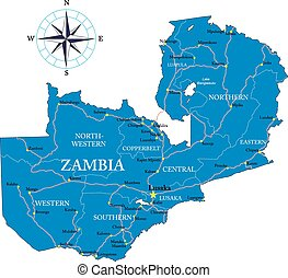Highly detailed vector map of Zambia with administrative regions, main cities and roads.
